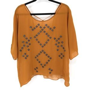 Patterson J. Kincaid mustard color beaded top SM